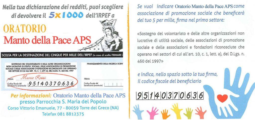 5x1000 Oratorio Manto della Pace APS